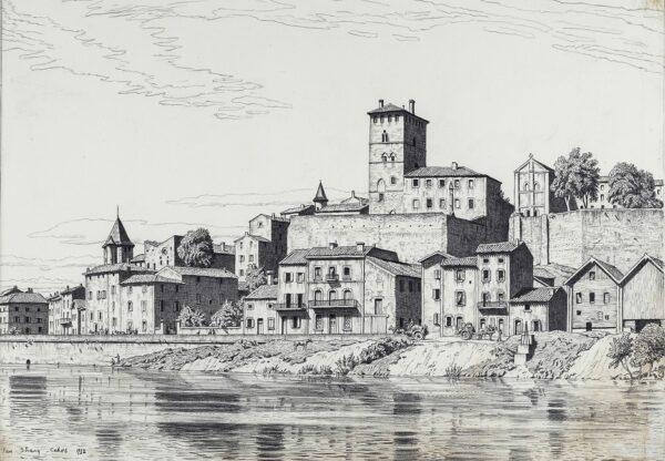 STRANG Ian R.E. (1886-1952) - The Prison Tower, Cahors.