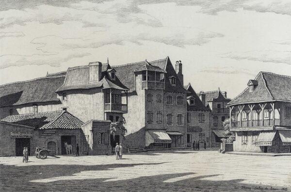 STRANG Ian R.E. (1886-1952) - Place du Bayaa, Salies-de-Bearn.