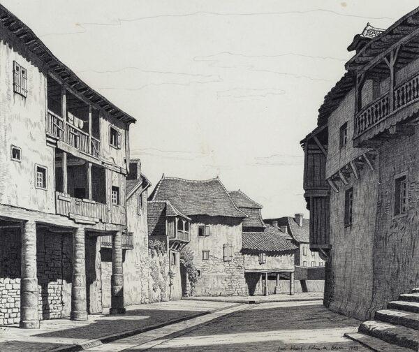 STRANG Ian R.E. (1886-1952) - Old Houses, Salies-de-Bearn.