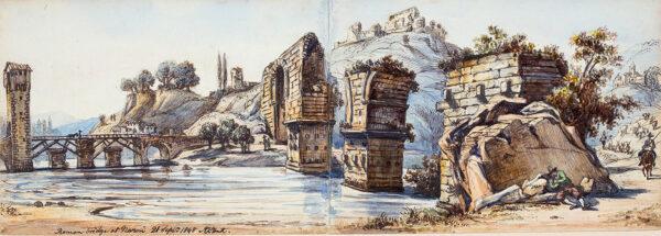 STRUTT Arthur John (1819-1888) - 'Roman bridge at Narni'.