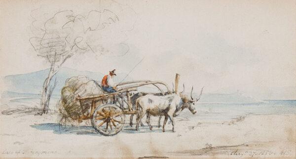STRUTT Arthur (1819-1888) - 'Lake of Trasymene' (sic) Pencil and watercolour.