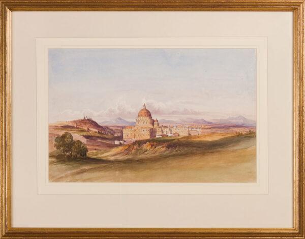 CRICHTON-STUART Lady James (Née Hannah Tighe) (1800-1872) - 'Rome from the Villa Pamfili (sic) Doria Garden'.