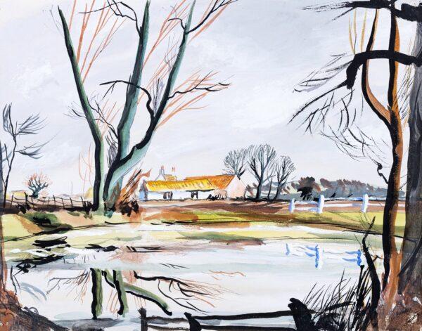 SUDDABY Rowland (1912-1972) - A Suffolk pond.