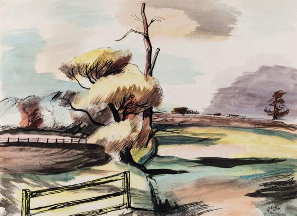 SUDDABY Rowland (1912-1972) - Landscape near Connard, Suffolk.