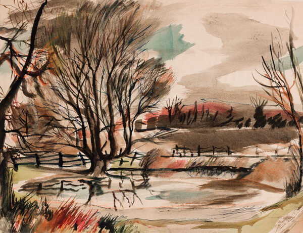SUDDABY Rowland (1912-1972) - Suffolk; winter landscape.