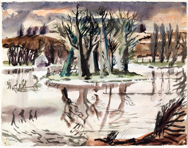 SUDDABY Rowland (1912-1972) - Flooded landscape, probably Suffolk.
