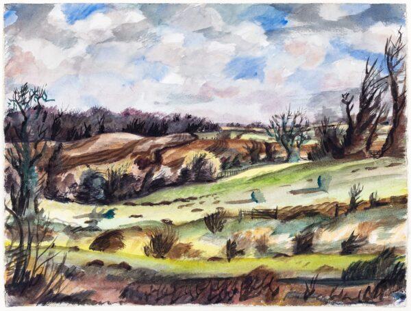 SUDDABY Rowland (1912-1972) - Suffolk landscape.
