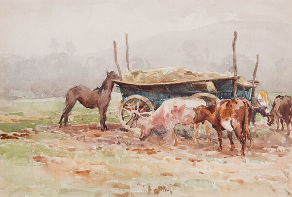 SWANWICK Harold (1866-1929) - A hay cart beneath the Sussex Downs.