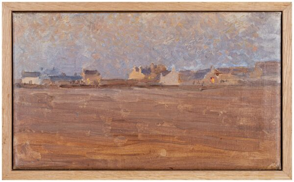 SWANWICH Harold (1866-1929) - Cottages at dusk, possibly on the Isle of Man.