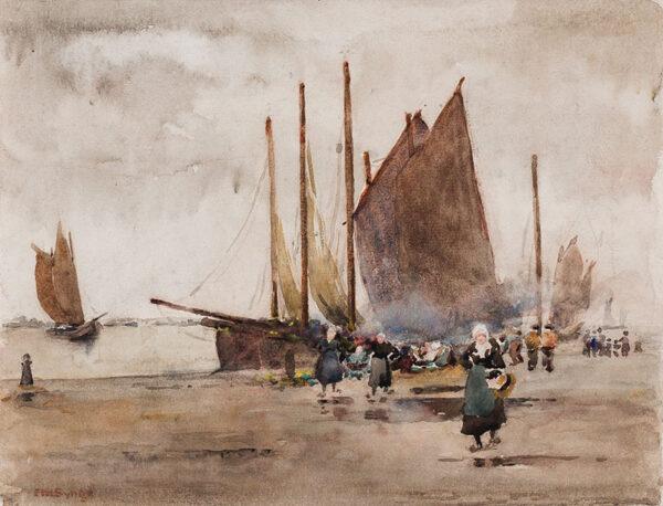 SYNGE Edward Millington (1860-1913) - Fishing smacks moored at a Dutch quay.