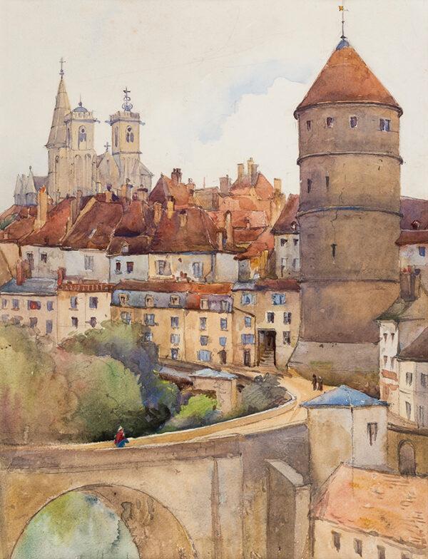 TATTERSHALL DODD Charles Jnr (Exh: 1892-1929) - The entrance to Semur-en-Auxois Watercolour.