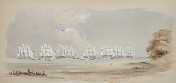 TAYLER J. (Mid 19th Century) - The Fleet in full sail, perhaps off the Isle of Wight.