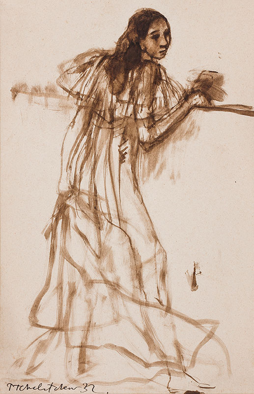 TCHELITCHEV Pavel (1898-1957) - Study of a girl, possibly a costume design for Tilly Losch in 'L'Errante' (Music Schubert) 1933.