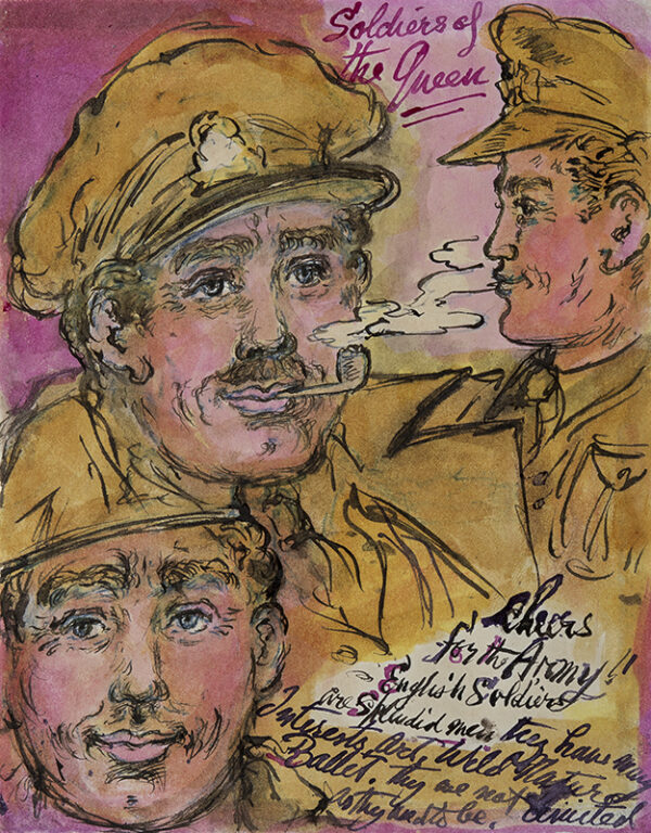 TENNANT Stephen (1906-1987) - 'Stories of the Queen / Cheers for the Army / English Soldiers / are splendid men they have many / Interests, Art, Wild Nature, Ballet.