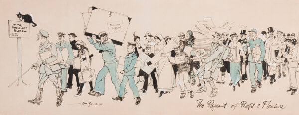 THOMAS Bert (1883-1966) - 'The Pageant of Profit and Pleasure', celebrating 'The Press Art School' (founded by Percy Bradshaw in 1905).