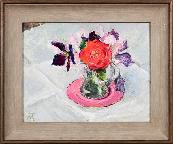 THOMAS Margaret N.E.A.C. S.W.A. (b.1916) - Roses on a pink dish.