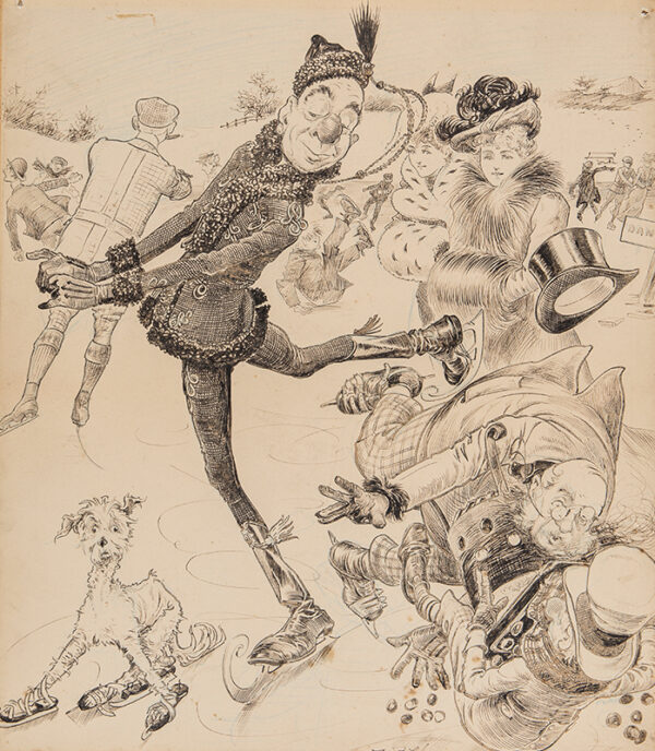 THOMAS William Fletcher (1862-c.1930) - Ally Sloper skating.