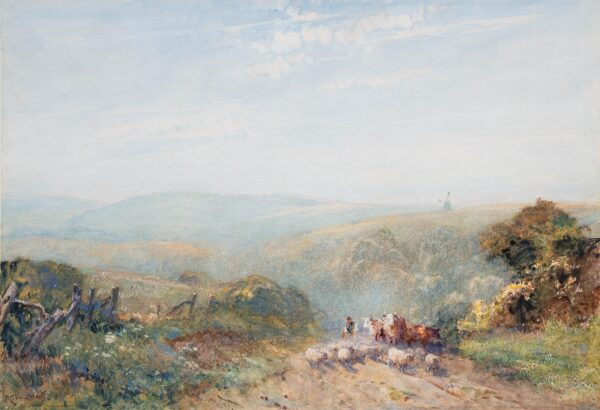 THORNE WAITE Robert R.W.S. (1842-1935) - Sussex: on the Findon Downs.