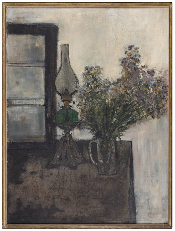 TINDLE David R.A. (b.1932 ) - Still life: lamp and flowers.