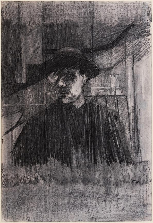 TINDLE David R.A. R.E. (b.1932) - Self-portrait in a mirror.