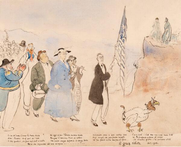 TONKS Professor Henry (1862-1937) - 'Il gran rifiuto' Ink and watercolour.