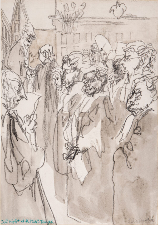 TOPOLSKI Feliks R.A. (1907-1989) - 'Call Night at the Middle Temple' Pencil, brush and ink.