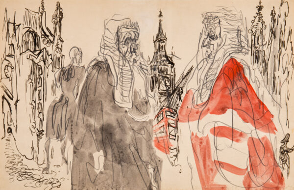 TOPOLSKI Feliks R.A. (1907-1989) - 'Outside Westminster Hall for the reopening of the Law Courts'.