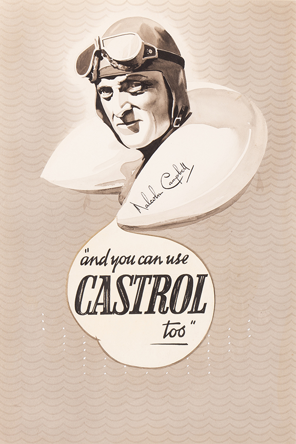 """TREVITHICK William Edward (1899-1958) - 'Malcolm Campbell and you can use / CASTROL / too""""': design for motor oil advertisement."""