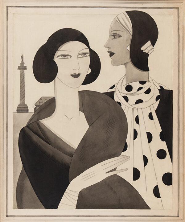TRUMAN Edna (fl.1930s) - Modelling hats and scarves: a fashion illustration.