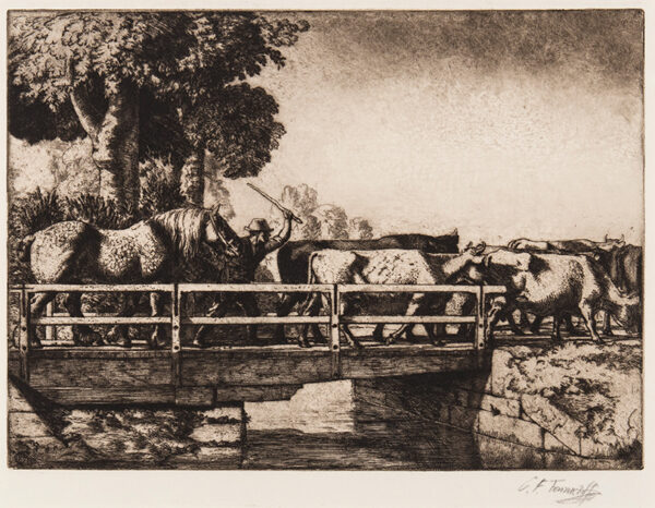 TUNNICLIFFE Charles Frederick O.B.E. R.A. R.E. (1901-1979) - The Cattle Bridge.