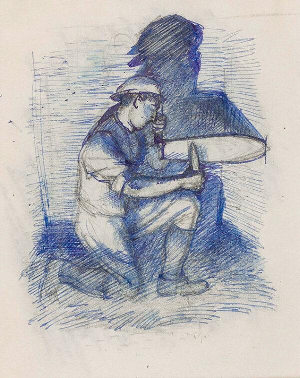 TUNNICLIFFE Charles Frederick O.B.E. R.A. R.E. (1901-1979) - Farm worker sharpening a blade.