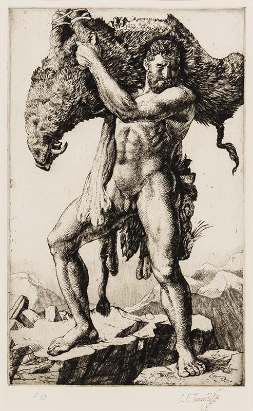 TUNNICLIFFE Charles Frederick O.B.E. R.A. R.E. (1901-1979) - 'Hercules and the boar'.
