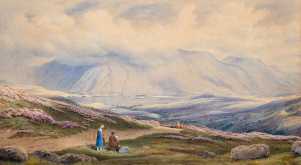 TURNER of Oxford, William (1789-1862) - 'A Sketcher waiting patiently for a view of the head of Ben Cruachan / on the road from Inverary to Dalmally, Argyleshire'(sic) Watercolour and gouache.