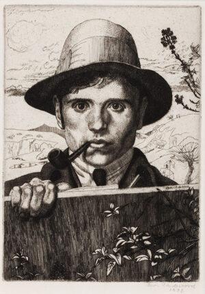 UNDERWOOD Leon (1890-1975) - 'Self Portrait in a Landscape'.