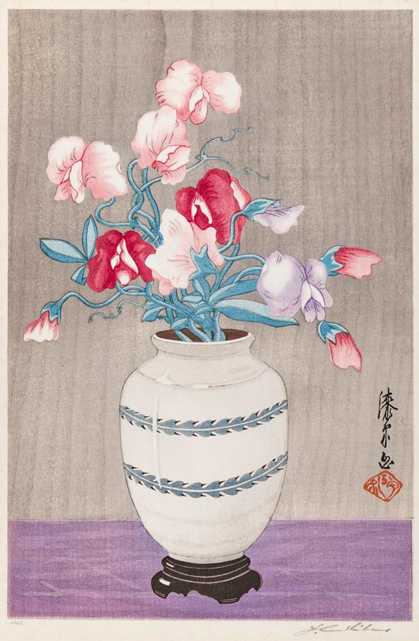 URISHIBARA Joshijiro (1888-1953) - 'Sweatpeas (White Vase)'.