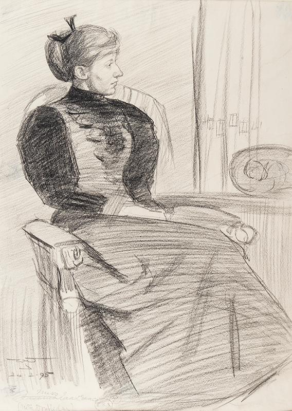URQUHART William J (fl.1870-1905) - 'Mrs Doubleday' ('Queenie Lawrence') Charcoal.