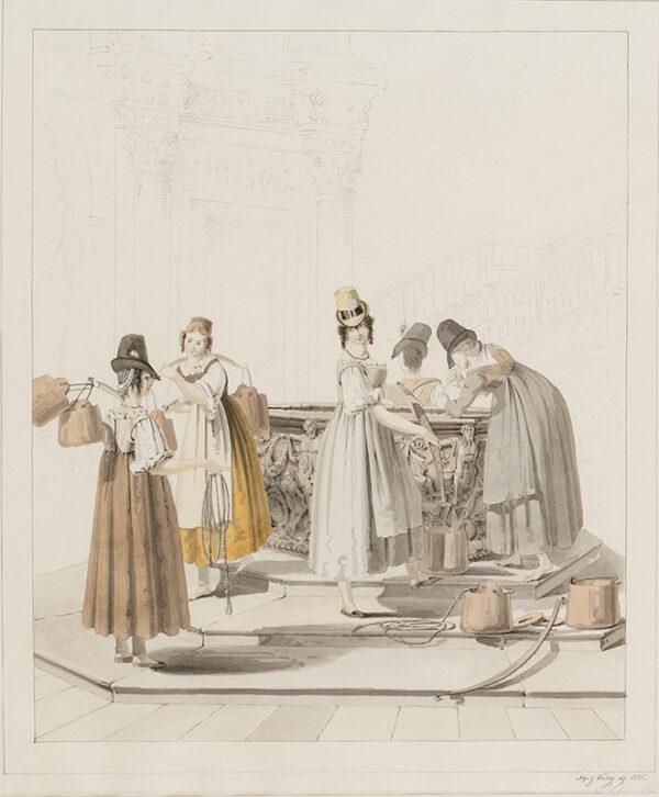 VALERI Napoleone Gaetano (1810-1841) - Women at a well, possibly in the Veneto.