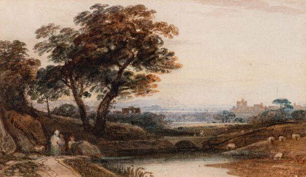 VARLEY John O.W.S. (1778-1842) - Capriccio landscape.