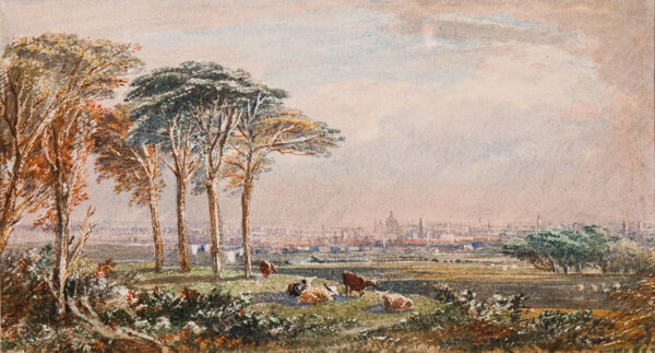 VARLEY Albert Fleetwood (1804-1876) - London: the view towards St Pauls Cathedral from Sydenham Hill.