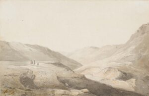 VARLEY Cornelius F.R.S.A. (1781-1873) or John O.W.S. (1778-1848) - Figures crossing a Welsh landscape.