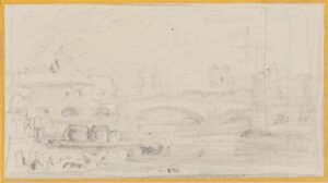 VARLEY John O.W.S. (1778-1848) - Buildings by a river.