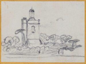 VARLEY John O.W.S. (1778-1842) - An Observator, or Church tower…  Pencil study.