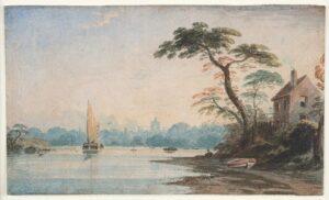 VARLEY John O.W.S. (1778-1842) - Hay barge at Chiswick, from Barnes.