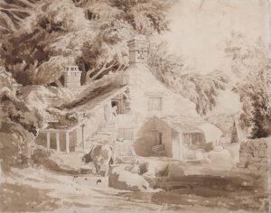 VARLEY Cornelius (1781-1873) - Cottage and farmyard.