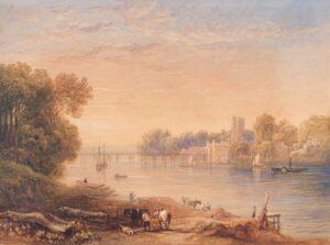 VARLEY John O.W.S. (1778-1842) (Circle of) - Putney Bridge from the South Bank.