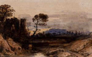 VARLEY John O.W.S. (1778-1842) - A ruined castle at sunset.