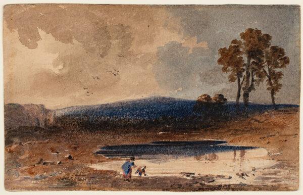 VARLEY John O.W.S. (1778-1842) - Figures by a dew pond.