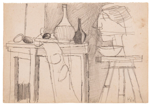 VAUGHAN Keith (1912-1977) - Still life with sculpture.