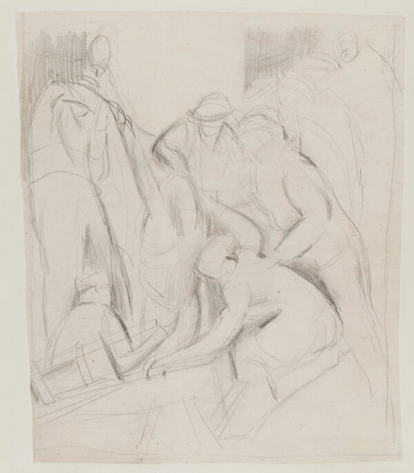 VELLACOTT Elisabeth (1905-2002) - Composition study for a WWII subject.