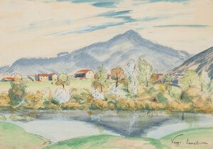 VERGE-SARRAT Henri (1880-1966) - 'La Loire a Retournac et la Mont Madeleine'.
